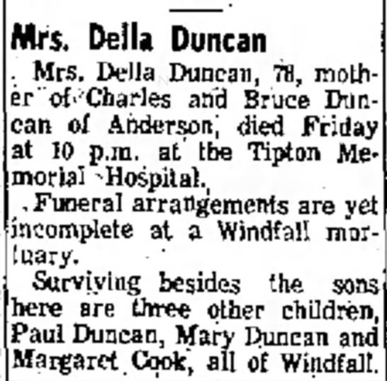 Della Duncan - Mrs. Delia Duncan Mrs. Delia Duncan, 78, mother...