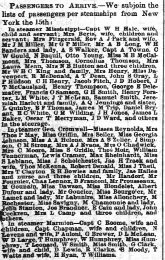 RH Bowles arrives from New York on steamer Geo. Cromwell 23 Sept 1866 - v Paseesgehs to Arrive. We' subjoin the lists...