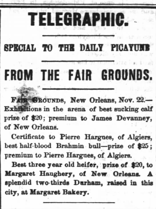 Margaret's prize winning heiferNov. 22, 1866 TP - TELEGRAPHIC. SPECIAL TO THB DAILY PICAYUFI FROM...