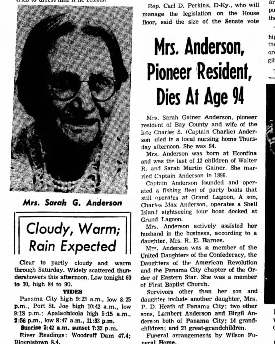 Sara Gainer Anderson obit - Mrs. Sarah G. Anderson Cloudy, Warm; Rain...