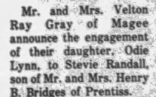 - Mr. and Mrs. Velton Ray Gray of Magee announce...