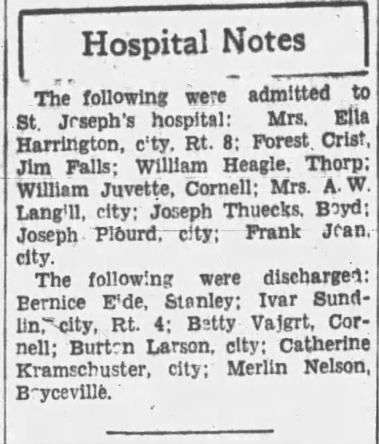 Betty Vajgrt discharged from hospital Wisconsin Oct 24th 1934 - Hospital Notes Th following were admitted . to...