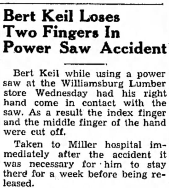 John D. Keil's Dad loses fingers - Bert Keil Loses Two Fingers In Power Saw...