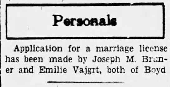 Emilie Vajgrt and Joseph M. Bruner marriage license-Wisconsin Sep 22n 1933 - Personal Application for a marriage license has...