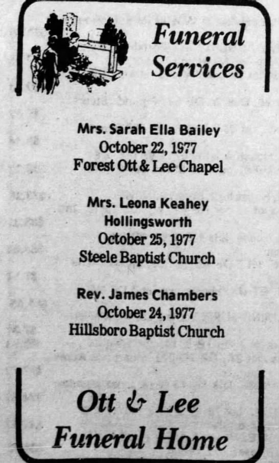 Leona Keahey - Funeral Services Mrs. Sarah Ella Bailey October...