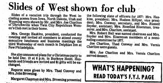 The Daily Reporter, Dover, Ohio, November 27, 1976 - Slides of West shown for club Slides of a...
