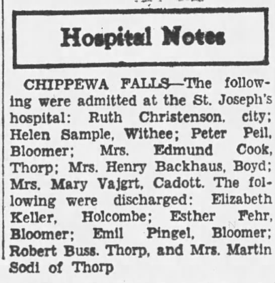 Mary Peshel Vajgrt admitted to the hospital Jun 22nd 1933