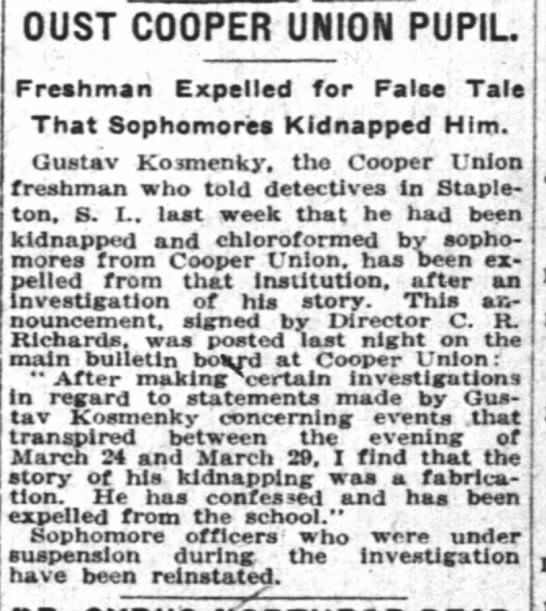 NYT, 4/4/1922 Page 17 - OUST COOPER UNION PUPIL Freshman Expelled for...