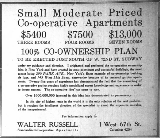 The New York Times (New York, New York) 28 May 1922  Page 119 - S m a 1 1 Moderate P ri ce d Co-operative...