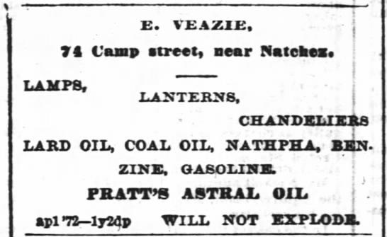 - 7 Camp street, near Matehes. LAMPS, LARD OIL,...