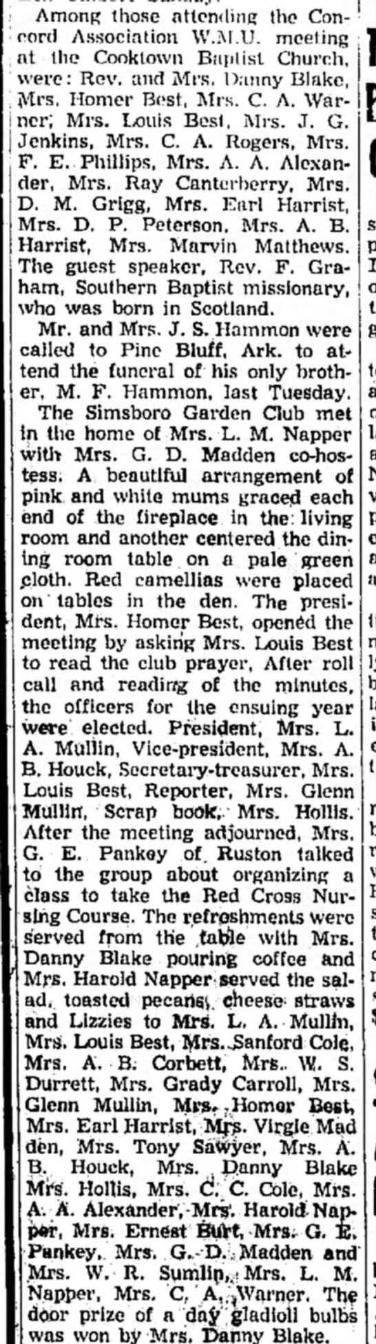 Concord Assoc WMU 1957 Jan 24 - Among those attending the Concord Association...
