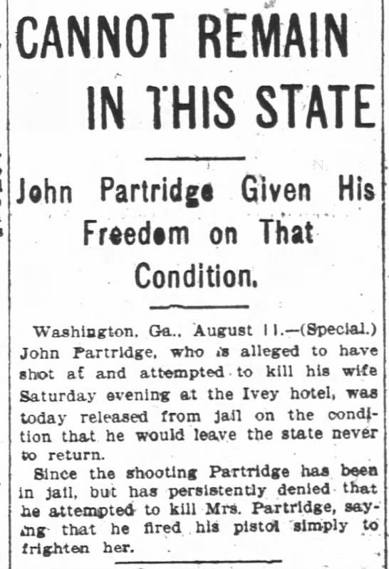 John Partridge shot at his wife. - CANNOT REMAIN IN THIS STATE ST'ATE STATE ST'ATE...