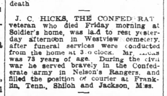 James C. Hicks obit-Atlanta Constitution-p.5-27 August 1904 - death dea.th death dea.th J C C. C C. HICKS THE...