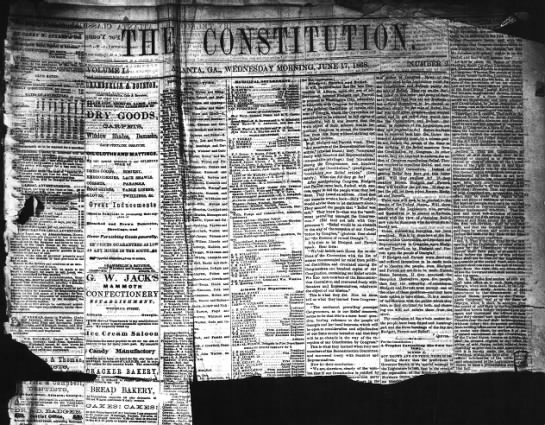 """Oldest issue of The Constitution in the archives, dated June 17, 1868 - M'u P eia 4 ci per iu r le d"""" per Hr. 1..."""