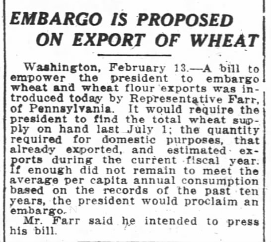 1915-02-14 FARR REPRESENTATIVE - EMARGO ON WHEAT EXPORT - EMBARGO IS PROPOSED ON EXPORT EXPORY EXPORT...