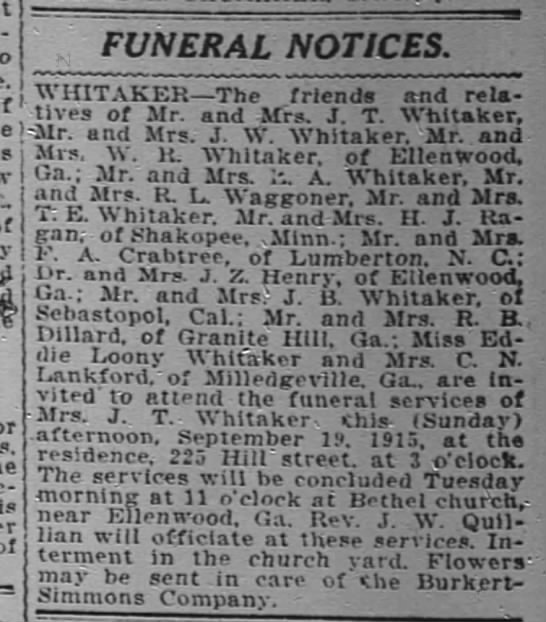 1915-09-19 WHITAKER J T MRS - FUNERAL - is FUNERAL NOTICES. NOTICES NOTICES. NOTICES...