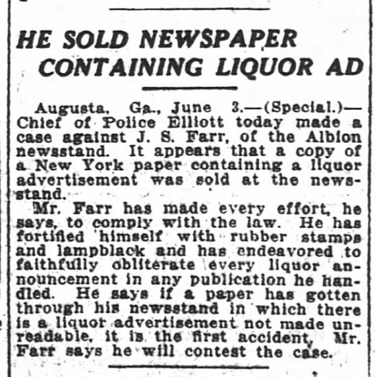 1916-06-04 FARR J S SOLD NEWSPAPER CONTAINING LIQUOR AD - HE SOLD SOLI SOLD SOLI NEWSPAPER NEWSPAEER...