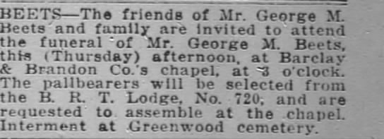 Funeral of George Beets - BEETS The friends of Mr. Mr Mr. Mr George St....