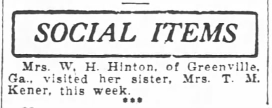 17 May 1921 W H Hinton - SOCIAL ITEMS Mrs Mrs. Mrs Mrs. W H H. H H....