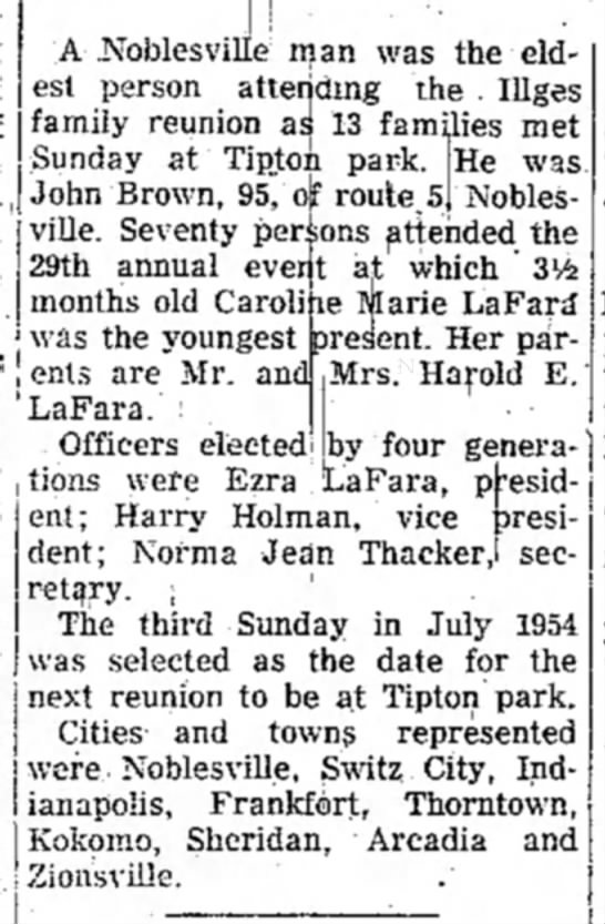 Illges Reunion announcement 1953 - A .Noblesvillje man was the eldest eldest...