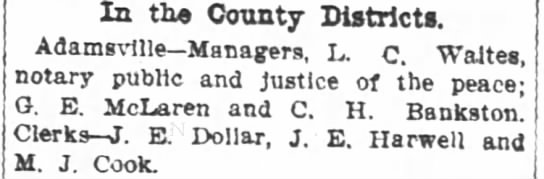 State Election Polling Places - M. J. Cook - Sept. 29, 1904 - In the County Districts. Adamsvllle Managers L....