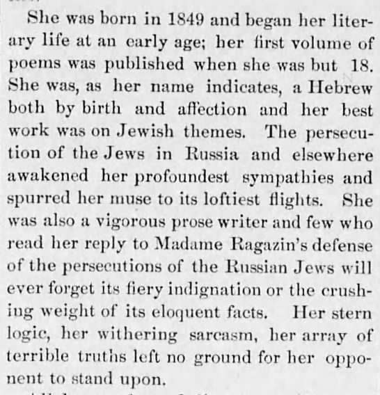 Emma Lazarus obituary - She was born in 1849 and began her literary...