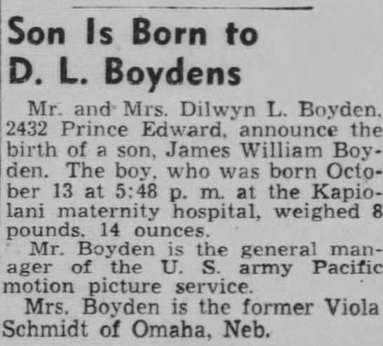 - Son Is Born to D. L. Boydens Mr. and Mrs....