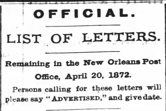 - OFFICIAL LIST OF LETTERS. Remaining In the New...