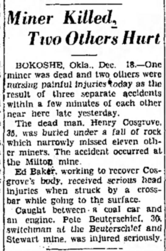 Denton Record-Chronicle 12-18-30 - Miner Killed, Two Others Hurt BOKOSHE, Okla.....