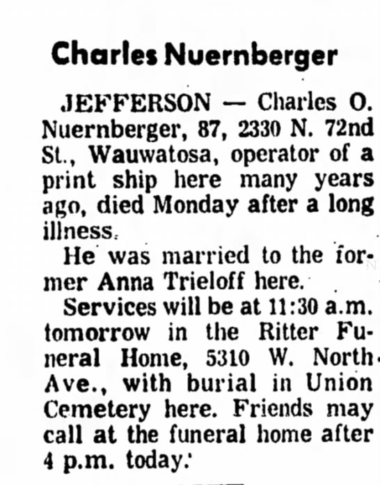 Nuernberger, Charles obit, husband of Anna Trieloff
