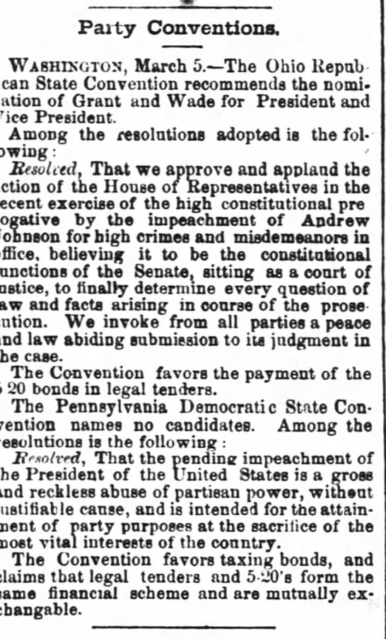 Times-Picayune (new Orleans) Mar. 6 1868 - Party Conventions. Washington, March 5. The...