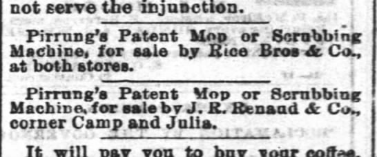 Pirrung's patent mop - not serve the injunction. ? ; 1 Pirrung's...
