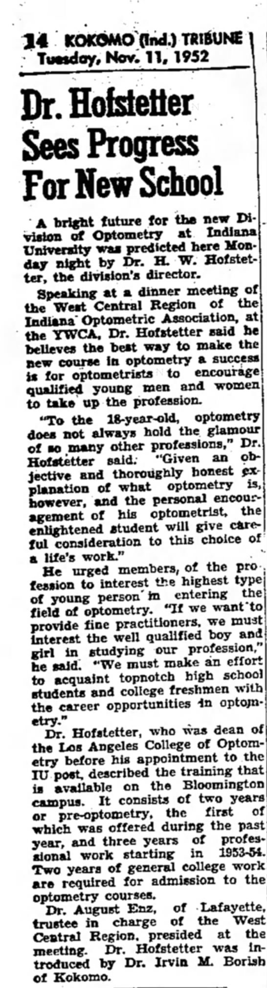 Dr. August Enz trustee in charge of West Central Region - 14 KOKOMO find.) TRIBUNE Timdoy. Nov. 11.1952...