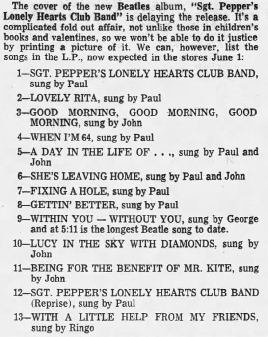 """Sgt. Pepper's Lonely Hearts Club Band - The cover of the new Beatles album, """"Sgt...."""