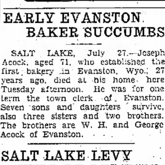 Great Grandpa Joseph, you never know where you will turn up. - left EARLY EVANSTON. BAKER SUCCUMBS SALT ....