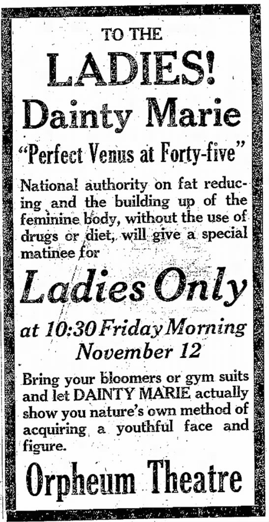 "Dainty Marie Ad - to TO THE ""Perfect Venus at Forty-five""..."