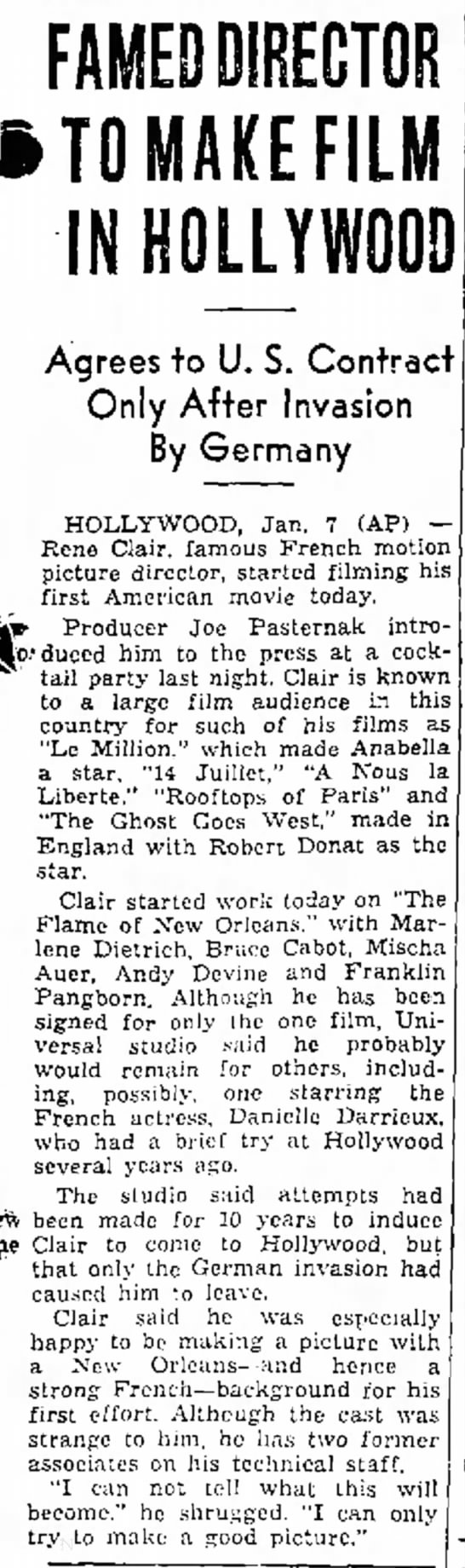 RENE CLAIR-1 - FAMED DIRECTOR iTOMAKEFILM IN HOLLYWOOD Agrees...