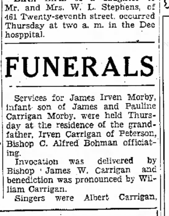 1936 James Irven Morby funeral 1 - 3569 Mr. and Mrs. W. L. Stephens, of 461...