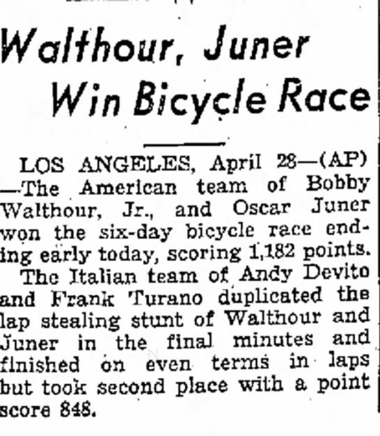 - Walthour, Juner Win Bicycle Race LOS ANGELES,...