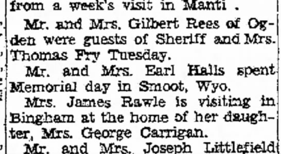 1933  Lois Bent Carrigan visiting George & Ida in Bingham - -engagement June wili from a week's visit in...