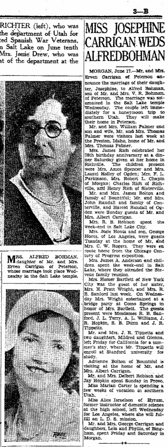 1933 Alfred & Josephine Carrigan Bohman marriage - 3-B M..RICHTER (feft), wfeo was of die...