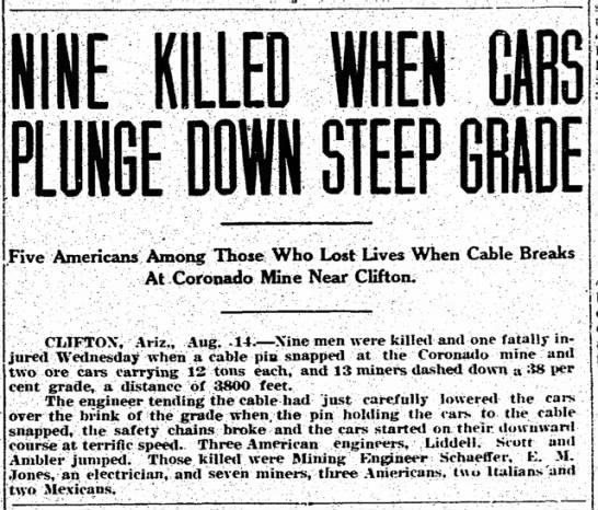 Coronado Mine Accident (near Clifton, Greenlee County, AZ) - Aug 1913 - NINE KILLED E DOWN STEEP Five Americans Among...