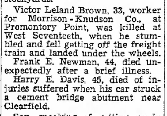 Harry's accident 27 nov 1944 - of Victor Leland Brown, 33, worker for Morrison...