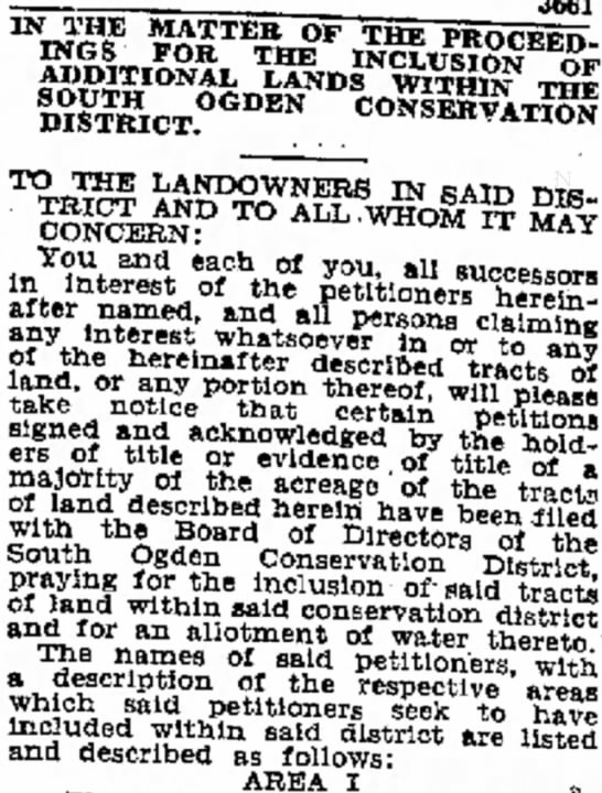 Land in Ogden Utah 2 July 1939 for water - ADDITIONAL LANDS WITHn THE TO THE LANDOWNERS IN...