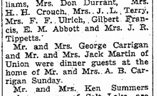 1938 George & Ida Carrigan, Jack & Margaret Martin - dinner at A.B. Carrigan's in Morgan - Williams, Mrs. Don Durrant, Mrs. H H. Crouch,...
