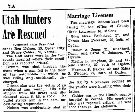 1943 Merland Remington. Search Party Thursday Pt 2 - 5-A Utah Hunters Are Rescued (Continued from...