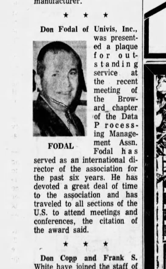 Fort Lauderdale Don Fodal Aug 5 1966 - Don Fodal of Univis, Inc., was presented a...