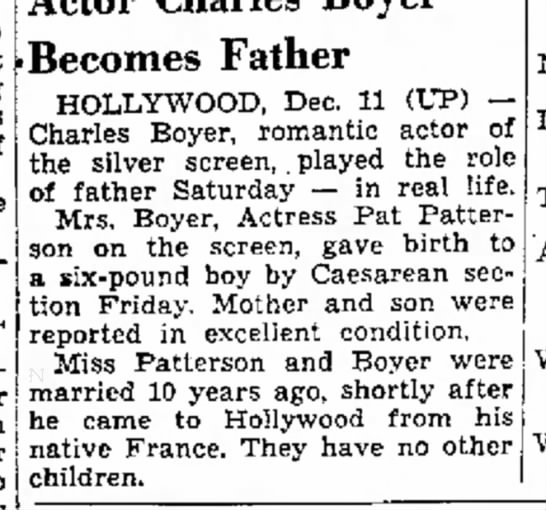 BOYER-15 - of Becomes Father HOLLYWOOD, Dec. 11 (UP)...