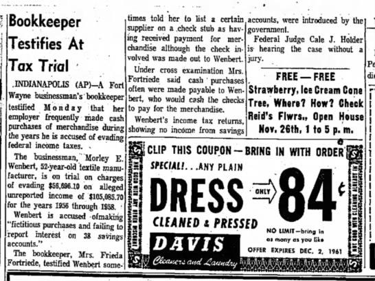 Frieda Fortriede, The Kokomo Tribune, Kokomo, IN Tues. Nov. 21, 1961 p.3 - Bookkeeper Testifies At Tax Trial INDIANAPOLIS...