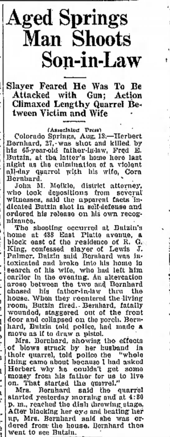 Herbert W Bernhard´s death - Aged Springs Man Shoots Son-in-Law Slayer...